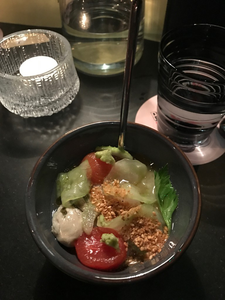"""One of the delicious small dishes at Penny & Bill combined with """"foodtails""""."""